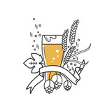 Beer glass, hops and wheat. Linear icon. Sign, symbol, emblem, label, logo for brewery, beer restaurant, pub, bar, menu, website. Vector illustration. - 198983960