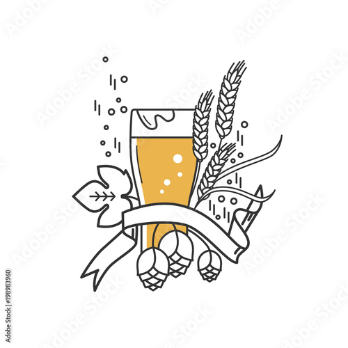 Fototapeta Beer glass, hops and wheat. Linear icon. Sign, symbol, emblem, label, logo for brewery, beer restaurant, pub, bar, menu, website. Vector illustration.