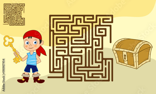 Square maze game for kids with solution. Cartoon boy with a key looking for the path to the chest of jewels. - 198987954
