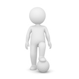 3D Rendering of a man standing with one foot on a ball on white background