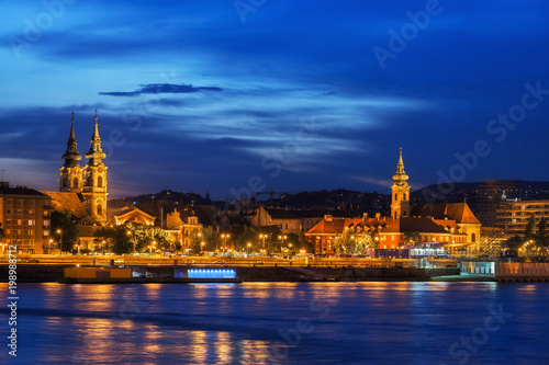 River View of Budapest City at Twilight Evening