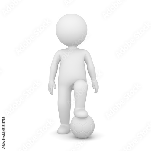 Fotobehang Bol 3D Rendering of a man standing with one foot on a ball on white background