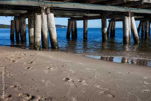 Beach and Pier in Sopot at Baltic Sea
