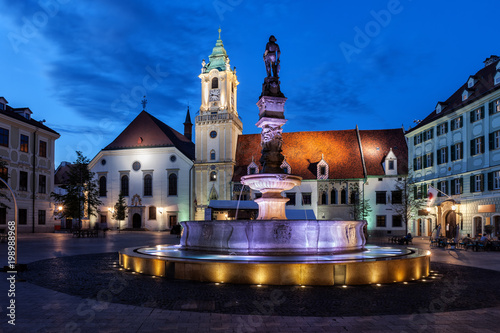 Bratislava Old Town Square By Night