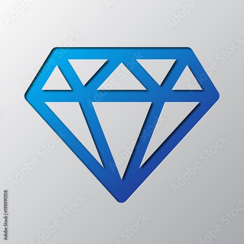 Papierowa sztuka niebieskiego diamentu. Ilustracji wektorowych.