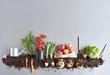 Organic fruit and vegtable garden background