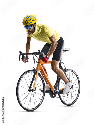 Professinal road bicycle racer isolated on white - 198991906