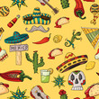 seamless pattern illustration on isolated background Mexican elements yellow background
