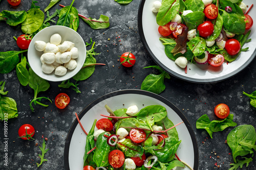 Fresh Cherry Tomato, Mozzarella salad with green lettuce mix and red onion. served on plate. healthy food. - 198997332