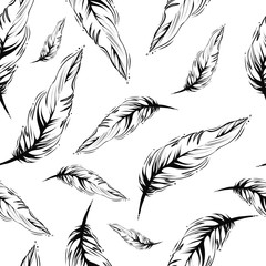 seamless monochrome feather pattern, vector