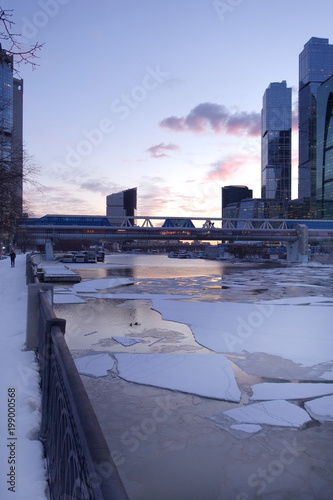 Poster Chicago Broken ice on river near Moscow business center