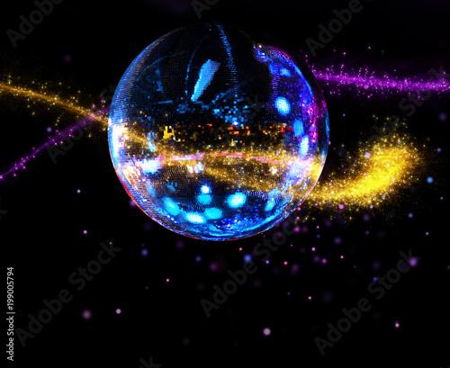Colorful disco mirror ball light stream - 199005794