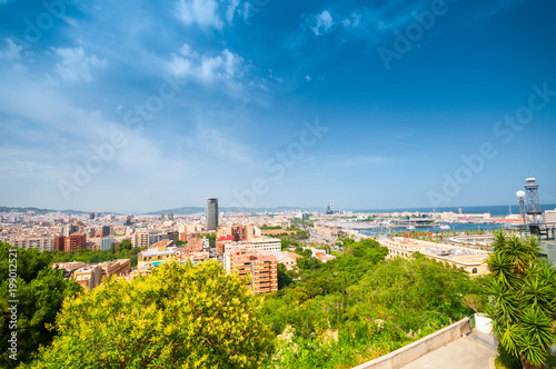 View above of Barcelona from Montjuic hill