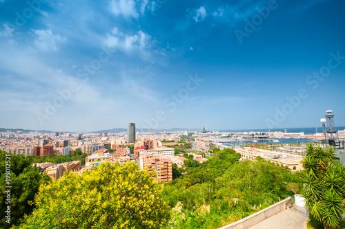 Widok powyżej Barcelony od wzgórza Montjuic