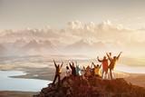 Big group of people success mountain top