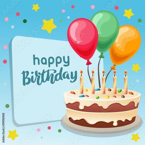 Happy Birthday Blue Background With Big Cake