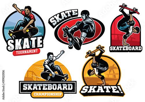 Fotobehang Skateboard skate badge design