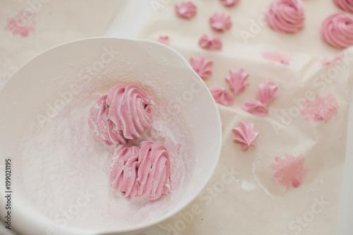 homemade raspberry marshmallows, zephyr. Cooking concept.