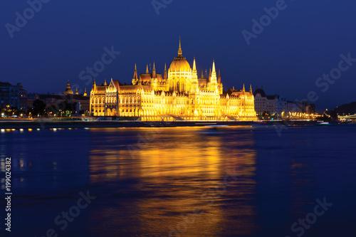 Fotobehang Boedapest Spotlighted Parliament building in Budapest at night
