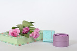 Provence style pastel colors notebook diary, flowers and gift boxes