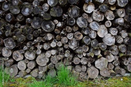 Foto op Aluminium Brandhout textuur Ofenholz, Brennholz gestapelt