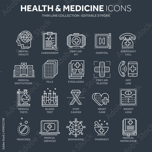 Health care, medicine. First aid. Medical blood tests and diagnostic. Heart cardiogram. Pills and drugs.Thin line white web icon set. Outline icons collection.Vector illustration.