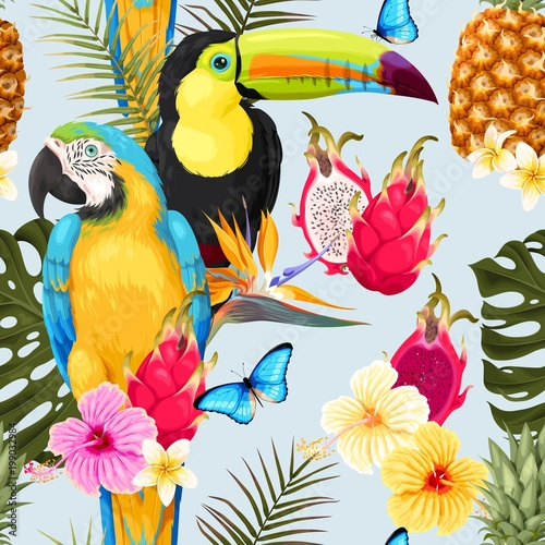 Fototapeta Seamless birds and flowers