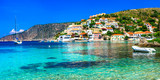 Beautiful  Greece series - picturesque colorful village Assos in Kefalonia