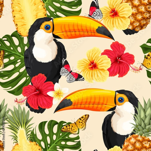 Toucans and flowers - 199038746
