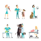 Veterinarians with animals.