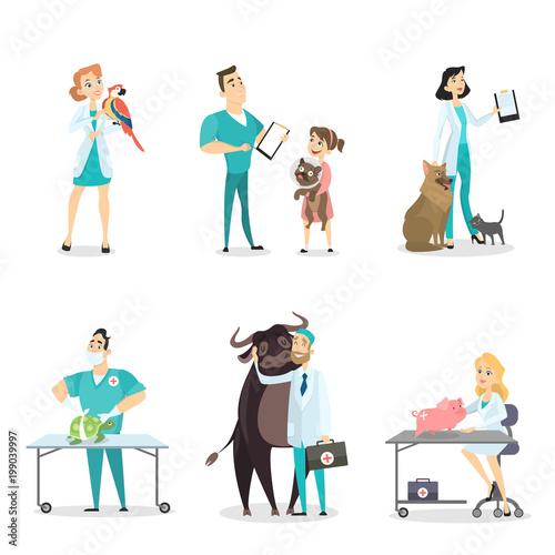 Veterinarians with animals. - 199039997