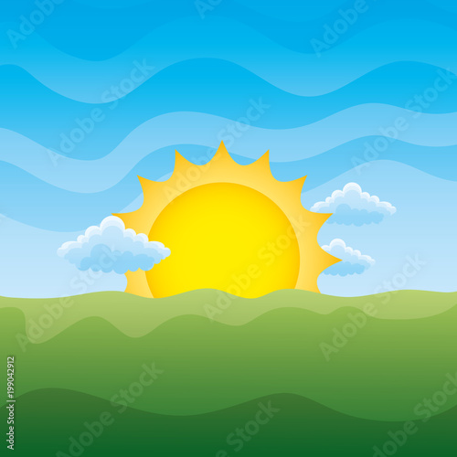 Foto op Aluminium Blauw landscape sun and clouds day scene vector illustration
