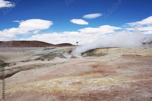 Fotobehang Bleke violet geysir in the uyuni desert of Bolivia