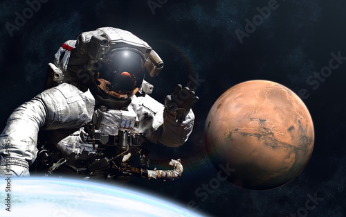 Plexiglas Nasa Giant astronaut and little Mars. Image in 5K resolution for desktop wallpaper. Elements of the image are furnished by NASA