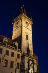 Nighttime, Old Town Hall with astronomical clock
