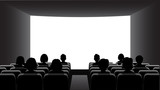 People in the cinema on the background of the screen. - 199069345