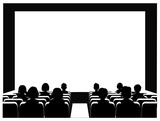 People in the cinema on the background of the screen. - 199069366