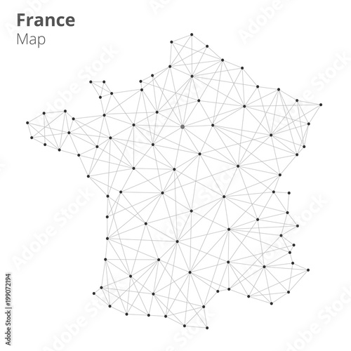 France Map Illustration In Blockchain Technology Network Style On