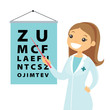 Young caucasian white ophthalmologist doctor pointing at the eye test chart. Optometrist examining the sight of a patient with an eye chart. Vector cartoon illustration isolated on white background. - 199073904