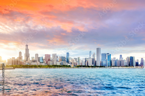 Chicago city downtown skyline at sunset