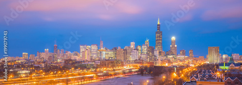 Fotobehang Chicago Downtown chicago skyline at sunset Illinois