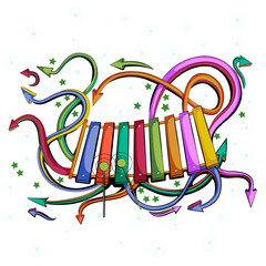 Abstract swirly musical background with Xylophone music instrument