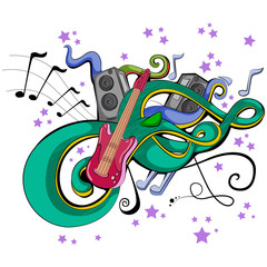 Abstract swirly musical background with Guitar music instrument