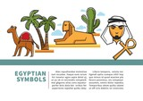 Egypt landmark symbols and sightseeing icons vector poster for travel tourism agency - 199084121