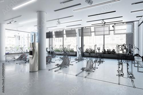 Aluminium Fitness Crosstrainer im Fitness-Zenter (Plan)