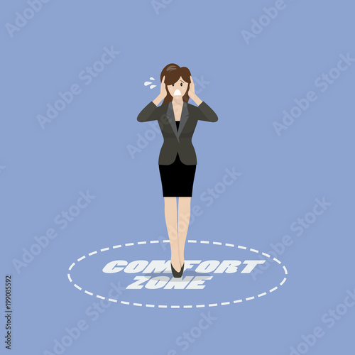 Business woman standing in comfort zone