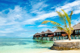 Exotic wooden huts on the water, Maldives - 199085795
