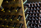 old wine bottles in cellar in winery - 199086141