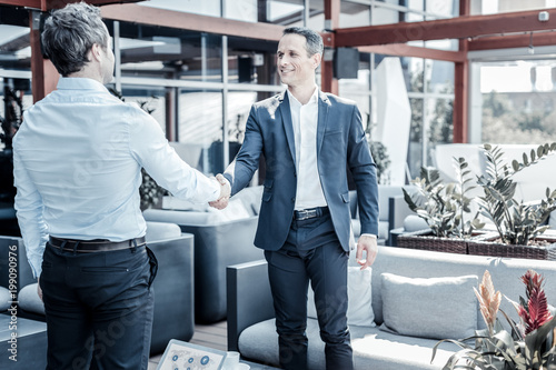 Pleasant meeting. Joyful positive smart businessman looking at each other and shaking hands while greeting each other