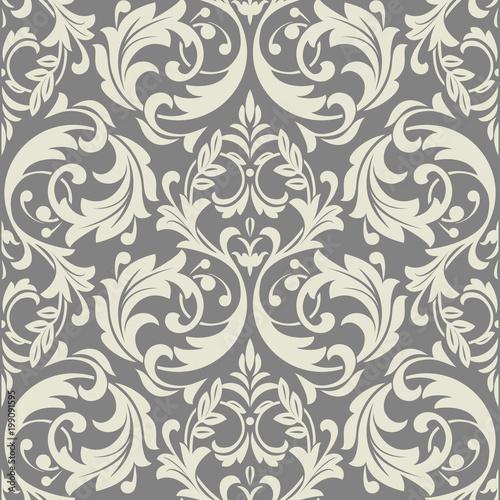 Fototapeta Floral pattern. Wallpaper baroque, damask. Seamless vector background. Grey ornament